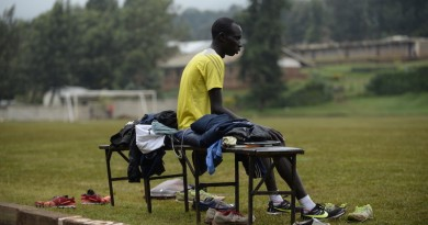 James Nyang Chiengjiek, 25, is a refugee from South Sudan living in Kenya. He is competing in the 800m race. ; At age 13, James Nyang Chiengjiek fled his home in what was then southern Sudan to avoid being kidnapped by rebels who were forcibly recruiting child soldiers. As a refugee in neighbouring Kenya, he attended school in a highland town known for its runners and joined a group of older boys training for long-distance events. ìThatís when I realised I could make it as a runner ñ and if God gives you a talent, you have to use it,î he says.  At first, he did not have proper running shoes. Sometimes he borrowed footwear from others, but he won no matter what he wore on his feet. ìWe all of us got a lot of injuries because of the wrong shoes we had,î he says. ìThen we were sharing. If maybe you have two pairs of shoes, then you help the one that has none.î  When he goes to Rio, James aims to inspire others. ìBy running well, I am doing something good to help others ñ especially refugees,î he says. ìMaybe among them are athletes with talent, but who did not yet get any opportunities. We are refugees like that, and some of us have been given this opportunity to go to Rio. We have to look back and see where our brothers and sisters are, so if one of them also has talent, we can bring them to train with us and also make their lives better.î