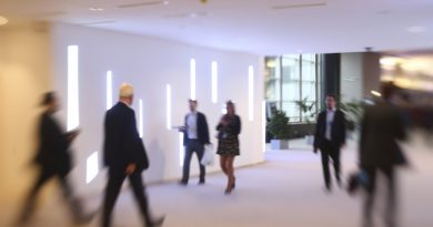 Plenary Session week 46 2015 in Brussels. Motion Blur  special effect - People walk towards plenary chamber on  Karamanlis Passerelle  before session starts.