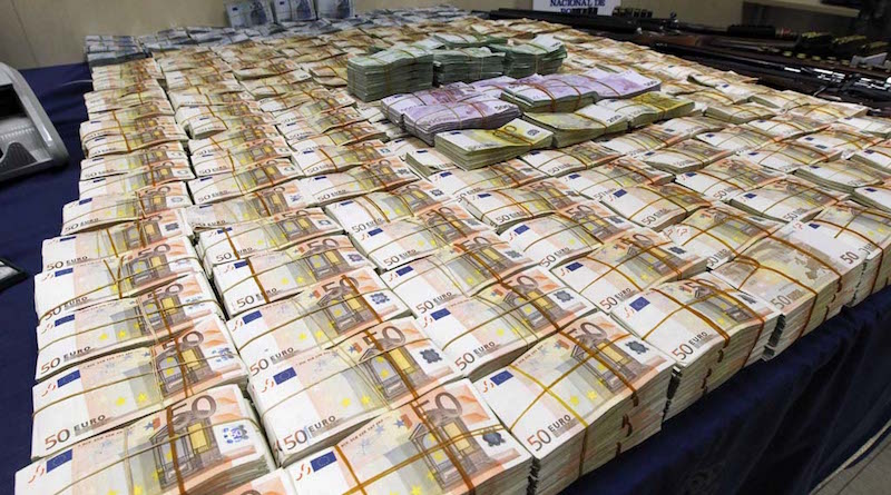 View of the material seized by the Spanish National Police during the operation 'Emperador' (Emperor) that unveiled a network of money laundering and organized crime, in Madrid, Spain, on 16 October 2012. The operation 'Emperador' unveiled Chinese mafias in charge of money laundering, not only in Madrid and Barcelona but throughout the Spanish territory. The police detained 83 people involved in the network, most of them of Chinese origin, raided 124 properties, seized 122 bank personal accounts and 235 associations. 11.6 million euros in art and jewelry has been confiscated as well during the operation. EFE/Angel Diaz
