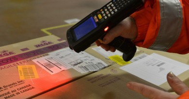 Each parcel is scanned  at the inbound area of the Amazon warehouse in Graden southern Germany, on March 5, 2013.