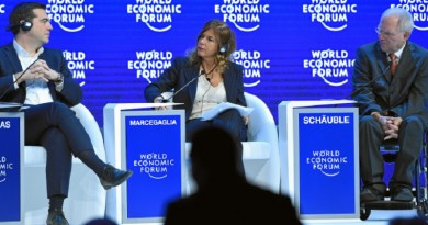 DAVOS/SWITZERLAND, 21JAN16 - Alexis Tsipras (L), Prime Minister of Greece, Emma Marcegaglia (C), Chairman, Eni, Italy and Wolfgang Schaeuble (R), Federal Minister of Finance of Germany listen to the debate during the session 'The Future of Europe' at the Annual Meeting 2016 of the World Economic Forum in Davos, Switzerland, January 21, 2016.    WORLD ECONOMIC FORUM/swiss-image.ch/Photo Valeriano Di Domenico
