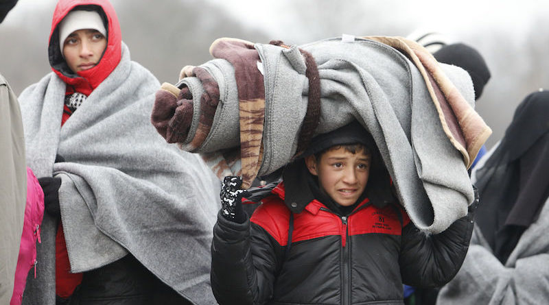 On 26 January 2016, a young boy is carrying a large bundle of warm blankets on his shoulders. He is in the Miratovac Refugee Aid Point where, along with his family members, he can access support services and have an opportunity to rest before continuing his journey.  In 2015, more than one million refugees and migrants crossed the Mediterranean, arriving on Europeís shores, of which an estimated 253,700 ñ or one in four ñ were children. Latest trends show that children now make up 36 percent of the migration flow coming through the former Yugoslav Republic of Macedonia. Woman and children now make up 57 percent of the refugee and migrants with the majority from Syria, Afghanistan and Iraq. Children arriving into a harsh winter in southeastern Europe are physically exhausted, scared, distressed and often in need of medical assistance, UNICEF warned.The recent sub-zero temperatures and sometimes snowy conditions is exacerbating the childrenís poor physical condition as many children on the move do not have adequate clothing, or access to age-appropriate nutrition. This has been worsened by the lack of shelter and inadequate heating in some reception centres as well as buses and trains. UNICEF said the issue was pressing as the proportion of children amongst refugees and migrants ñ now more than one in three ñ has continued to increase. According to national sources, in the former Yugoslav Republic of Macedonia, the ratio was 37 per cent in December, compared to 23 per cent in September, while in Serbia, 36 per cent were children in December compared to 27 per cent in September. In December most children transiting through UNICEF child-friendly spaces in Serbia were young children, including babies and infants and those between 5 to 9 years old.