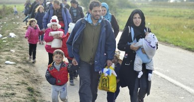 """A Syrian refugee family walks at the head of a column organised by the Croatian police, one kilometre from the border crossing with Serbia. They are being moved to buses that will take them to Opatovic Transit Center.  UNHCR works to support vulnerable families on the move, especially the many unaccompanied or separated children at risk of sickness, trauma, violence, exploitation and trafficking.   """"We are particularly concerned about the welfare of unaccompanied boys and girls on the move and unprotected across Europe, many of whom have experienced the horrors of war and considerable hardship in making these journeys alone,"""" says UNHCR Assistant High Commissioner for Protection Volker Türk. ; More than 643,000 refugees and migrants arrived in Europe via the Mediterranean sea this year, including 502,500 in Greece only. Many of the refugees and migrants are desperate to move quickly onwards to Western Europe, fearing that borders ahead of them will close."""