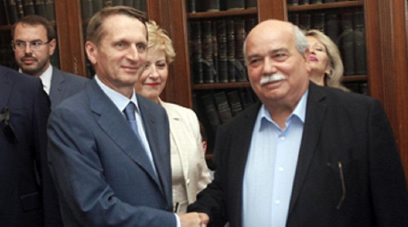 Ο πρόεδρος της Βουλής των Ελλήνων Νικόλαος Βούτσης (Δ) ανταλλάσει χειραψία με τον Πρόεδρο της Ρωσικής Κρατικής Δούμα Sergey Naryshkin, σε συνάντηση που είχαν στη Θεσσαλονίκη, Δευτέρα 4 Ιουλίου 2016. ΑΠΕ-ΜΠΕ/ΑΠΕ-ΜΠΕ/ΝΙΚΟΣ ΑΡΒΑΝΙΤΙΔΗΣ
